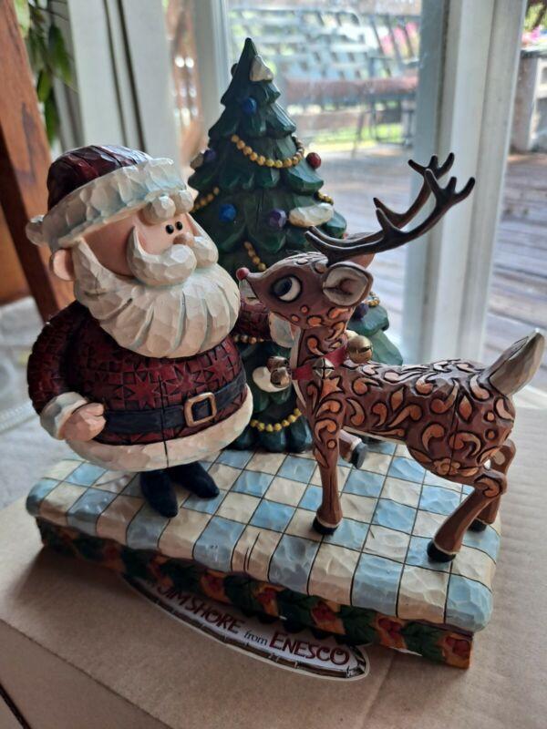 Jim Shore RUDOLPH & SANTA FIGURINE Christmas TRADITIONS 2007 w/box