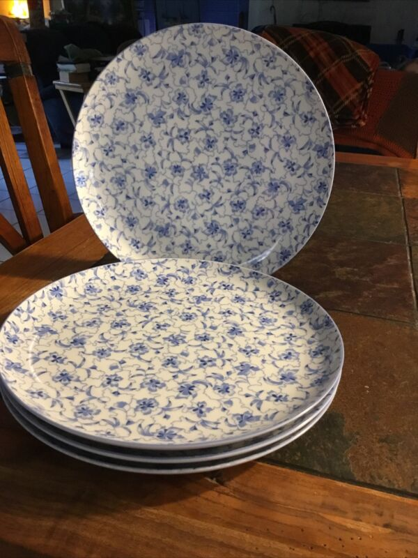 Vintage Estee Lauder Chinoiserie Chintzware Dinner Plates White/Blue Floral SET4