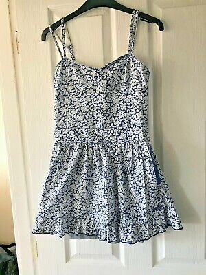 Superdry Blue and White Floral Dress - Size XS