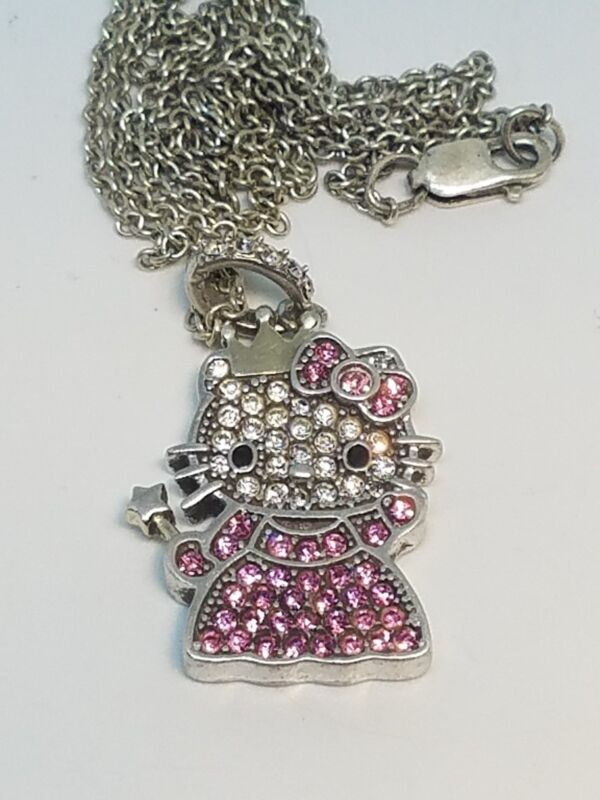 Hello Kitty Sanrio Sterling Silver Pink & Clear CZ Princess Kitty Pendant