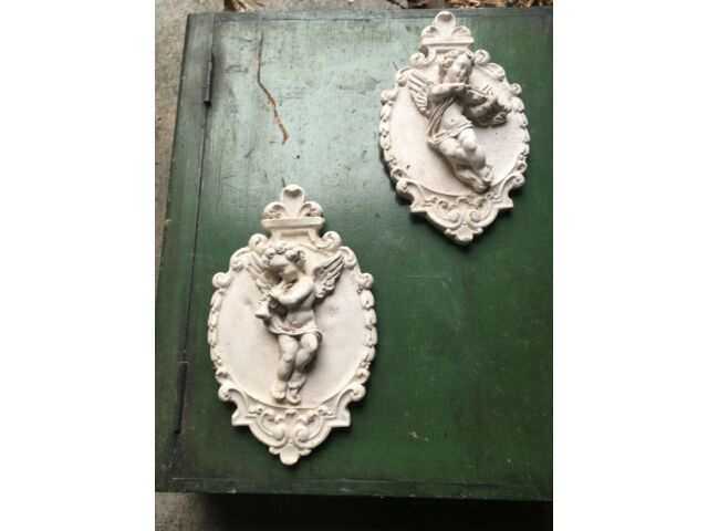 Vintage pair Plaster Cherubs plaques
