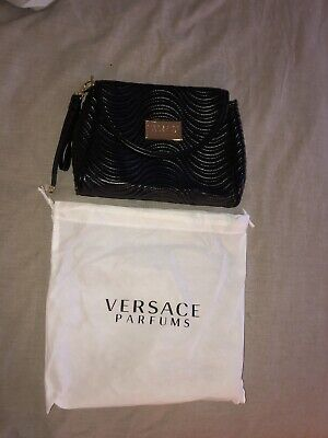 VERSACE PARFUMS FAUX LEATHER BLACK WRISTLET CLUTCH PURSE BAG NEW IN STORAGE GOLD