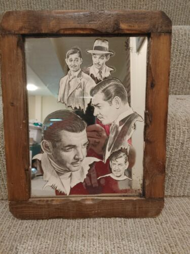"Vintage Clark Gable Reverse Painted Framed Mirror 11"" x 14"""