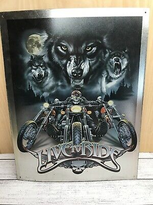 Used Live to Ride - Wolves Decorative Metal Tin Sign Motorcycle