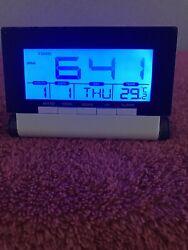 Vintage Travel Mini Alarm Clock Blue LED Backlit Temperature Calendar. Pre-Owned