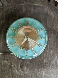 Vintage General Electric Mint Green Wall Clock-WORKS!