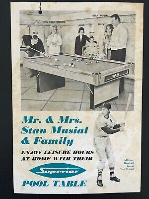 Vintage Stan Musial & Family Superior Pool Table Guarantee Card