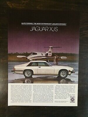 Vintage 1979 Jaguar XJ-S with Airplane Full Page Original Color Ad