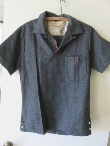 VTG 1950s Sportsman Cal-Made Woolynella ROCKABILLY Loop Collar SS Shirt Sz S