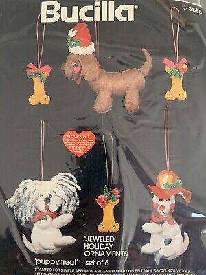 Puppy Treat Jeweled Holiday Ornaments Felt Appliqué Kit Vintage Bucilla Sealed