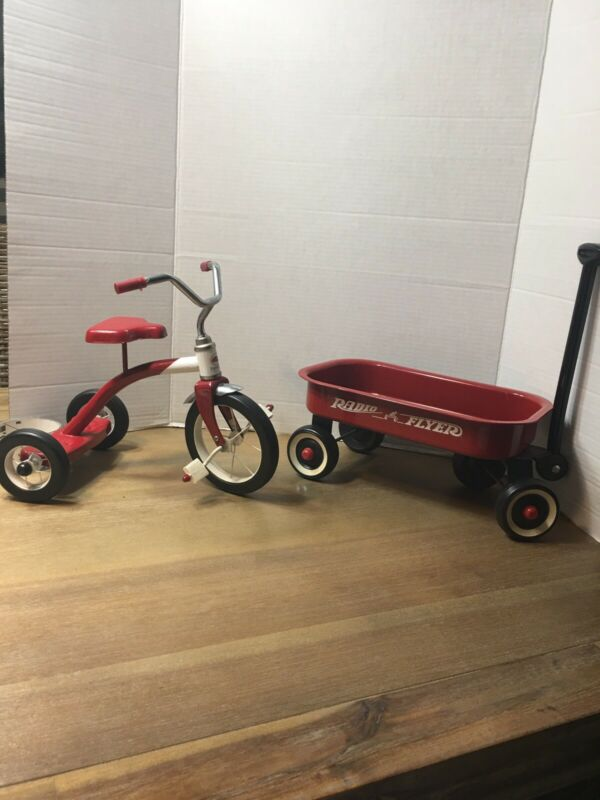 Radio Flyer Wagon & Tricycle for Dolls/bears Pressed Metal Working Wheels