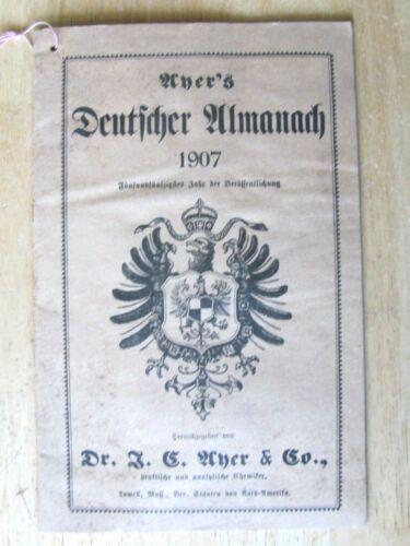 1907 ALAMANAC DR J AYER CO  IN GERMAN CITY DRUG & JEWELRY SHREWSBURY ARENZVILLE