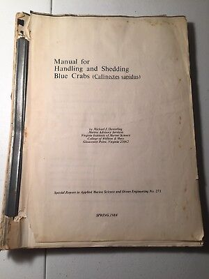 - Manual Handling & Shedding Blue Crabs Callinectes Sapidus 1984 OESTERLING Marine