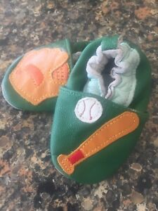 NEW, Baseball Baby Slippers, Sz 0-3 Mths