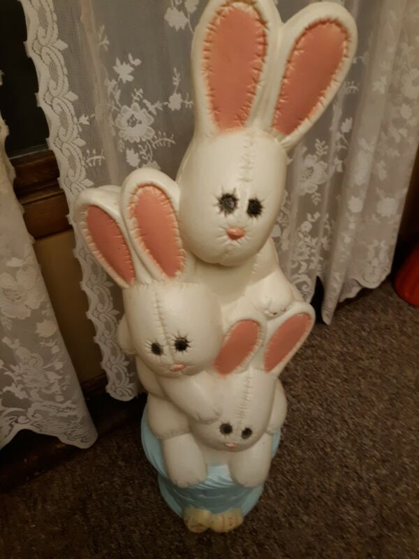 Stack Triple Bunny Vintage Blow mold Yard light Decoration  Rare