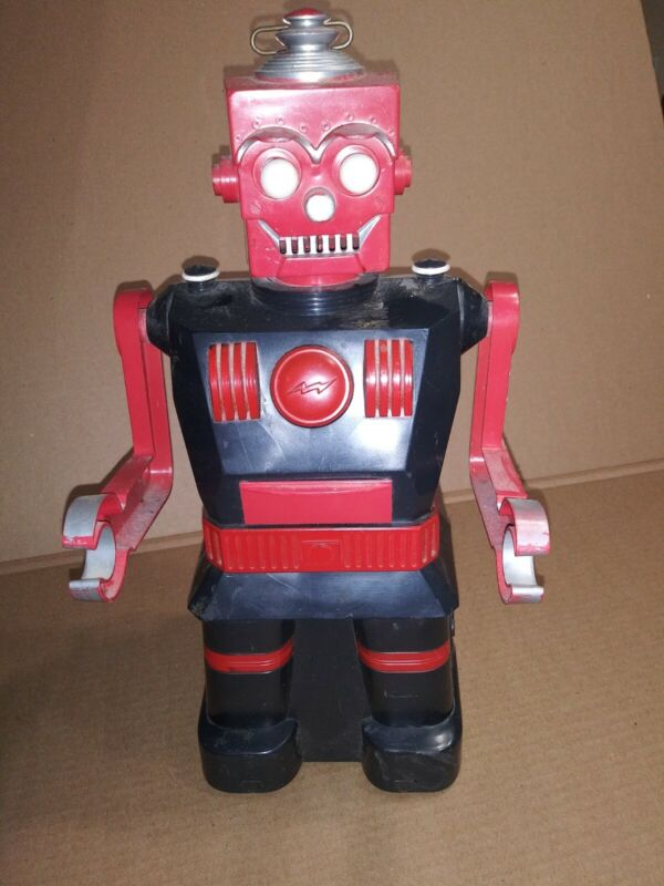 Vintage 50s Marx ROBOT Battery operated Space Toy Black and Red