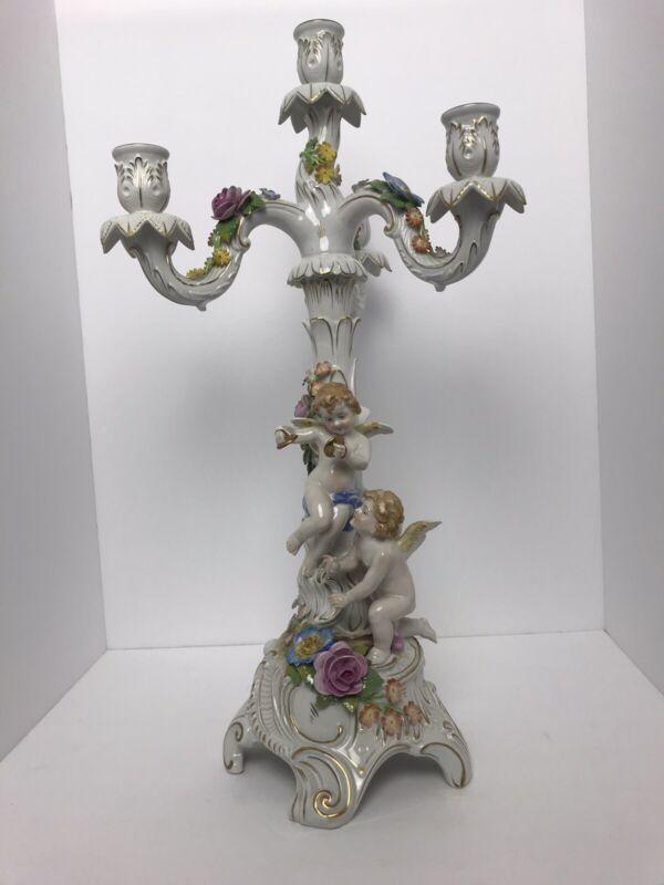 RARE Antique German Von Schierholz Porcelain Candelabra (s), c. 1920s