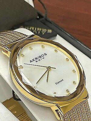 Akribos XXIV Women's AK1009RG Diamond Mother-of-Pearl Gold Bracelet Watch