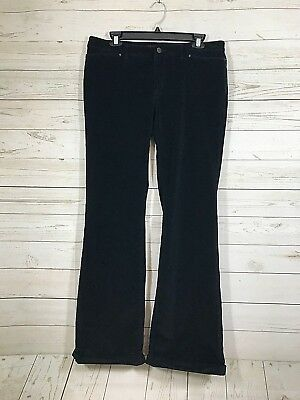 BANANA REPUBLIC Black Velvet Cord Turn Up Hem Stretch Boot Cut Sz 8 ()