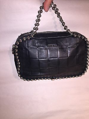 NWOT authentic FURLA black quilted leather crossbody BAG ball chainlink handles