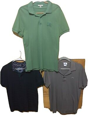 Mens Burberry London Mens Size Large Short Sleeve Polo Shirt Hugo Boss Lot Rare