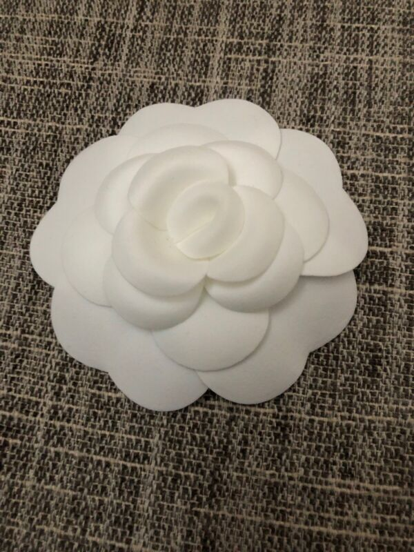 """NEW CHANEL White Cotton Fabric Camellia Flower 3"""" for brooch or pin"""