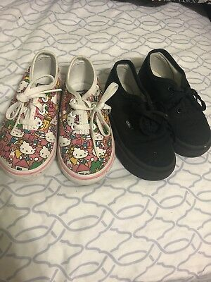 VANS TODDLER GIRLS LOT OF TWO Hello Kitty PRINT & Black SZ 7.0