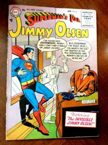 JIMMY OLSEN #12 (1956) VG- (3.5) cond.  PHANTOM ZONE--TYPE Story