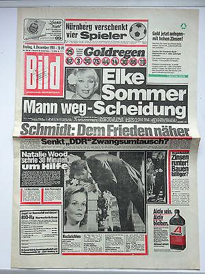 Bild Zeitung 4.12.1981, Elke Sommer, Natalie Wood, Knapp Familie, Agnetha (ABBA)