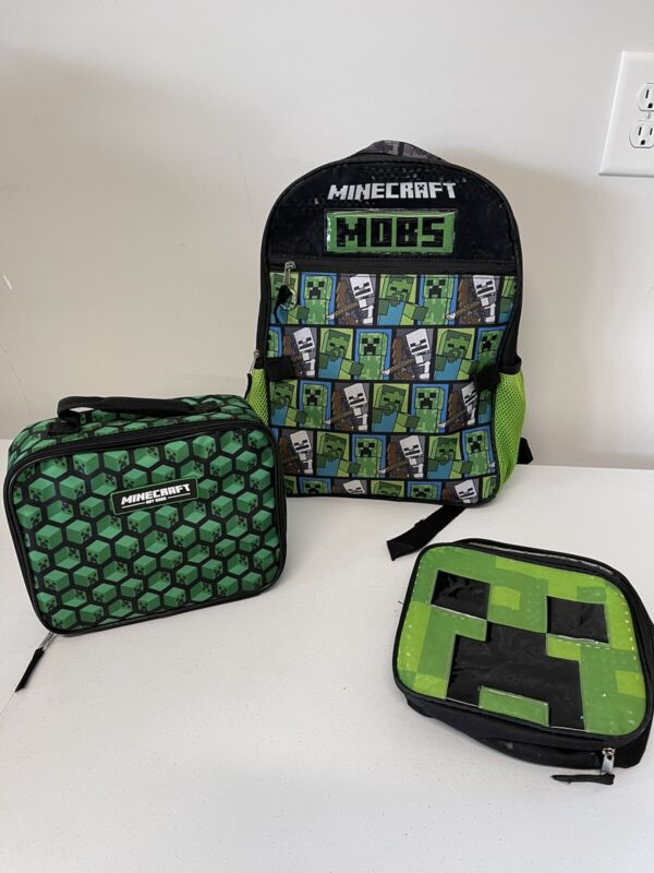 Minecraft Craft Backpack And 2 Lunchboxes Black and Green MOBS