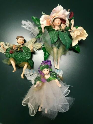 Vintage Porcelain Fairy Woodland Sprite Doll Ornaments Lot Of 3 Figures