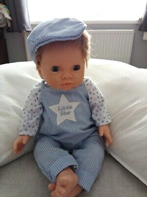 Tiny Treasures Boy doll blonde hair gorgeous tiny star dungarees and hat outfit