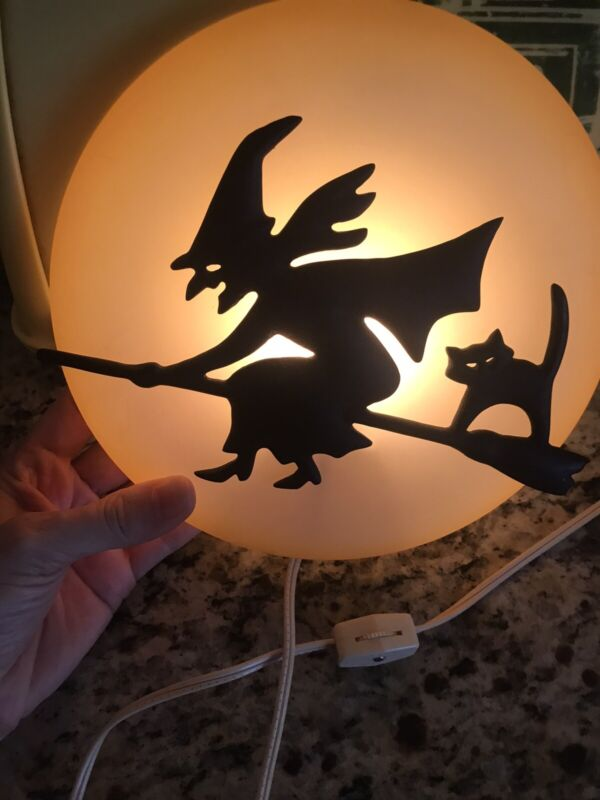 Vintage Halloween Lighted Witch On Broomstick With Cat Full Moon