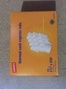 """Staples Thermal Paper Roll, 3-1/8"""" x 225', 12/Pack (New)"""