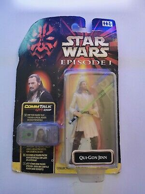 QUI-GON JINN Star Wars Episode 1 Phantom Menace CommTalk Chip Carded Figure New