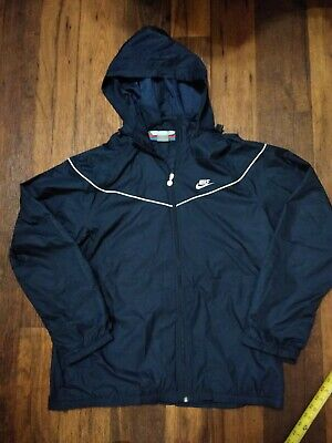 VTG Nike XL Hooded Windbreaker Silver Tag Navy Blue Y2K Pockets full zip 3M
