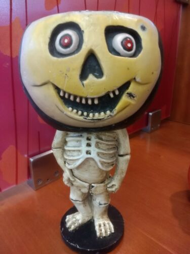 Retired Dept 56 vintage skeleton candle holder head skull Halloween creepy
