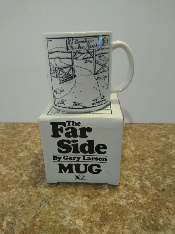 "THE FAR SIDE Coffee Mug 1983 ""Boneless Chicken Ranch "" Larson"