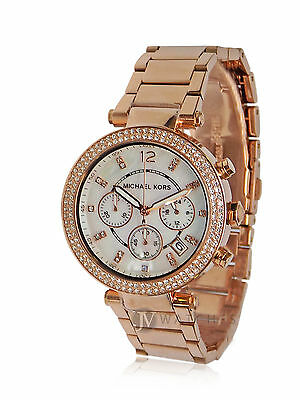 NEW WOMENS MICHAEL KORS (MK5491) PARKER CHRONOGRAPH GLITZ ROSE GOLD WATCH