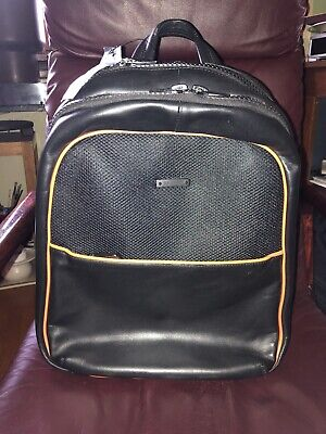 Baldinini Made in Italy men's luxury Black With Orange Trimmed leather backpack