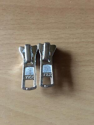 (2,35 € Stück)   2 Schieber YKK für 5 mm Kunststoff Reißverschluß Silber YKK104