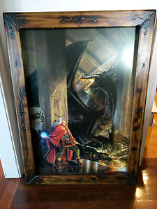 Sorcerer fighting Dragon framed picture Bundamba Ipswich City Preview