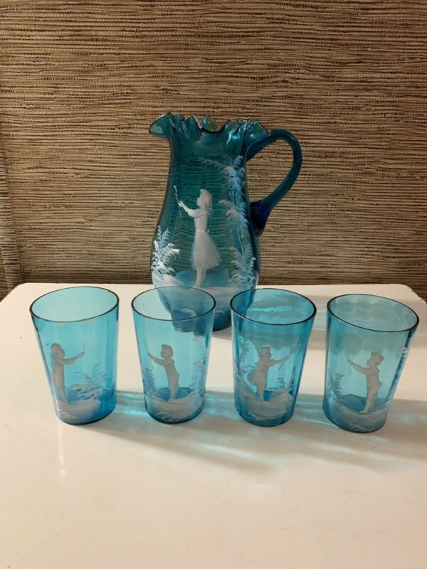 Antique Mary Gregory Blue Glass Hand Painted Ruffled Pitcher & 4 tumblers