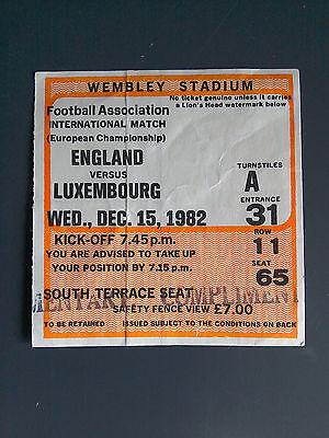 Original England v Luxembourg 1982 European Championship Match Ticket