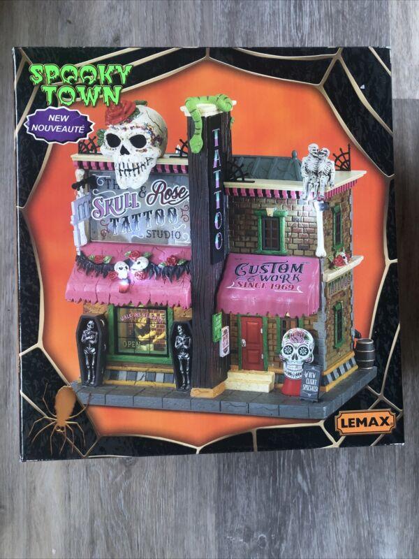 Lemax Spooky Town 2021 Skull & Rose Tattoo Studio #15751 New