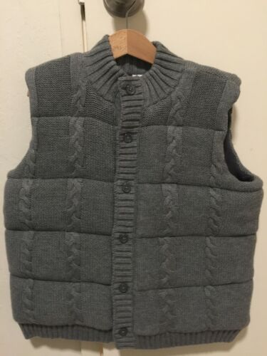 Janie and Jack Quilted Puffy Cable Knit Sweater Vest - Gray, Size 5/6