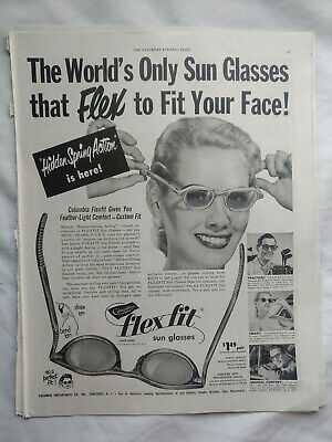 VTG 1950 Orig Magazine Ad Columbia Flex Fit Sun Glasses Flex to Fit Your (Glasses To Fit Your Face)