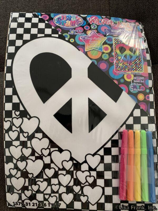 Lisa Frank Velvet Art Peace Sign Heart Goof-Proof NIP