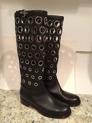 Christian Louboutin Apollobotta Riding Boots Knee High Tall Black 37/6.5/7 $2995