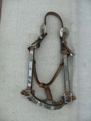 WESTERN SHOW HALTER SILVER/GOLD- MARE/2 YR OLD SIZE@@